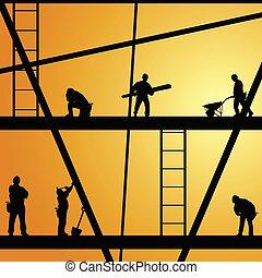 工作, 建設, 矢量, 工人, 插圖