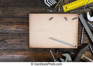 工作, 木制, 集合, 鄉村, 工具, 空間, 背景。, 頂部, 模仿, 觀點。