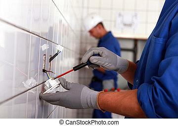 工作, 浴室, 努力, 電工