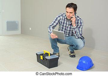 工作, 談話, 站點, 電話, 建設, 建築師