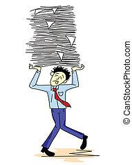 工作, 運載, 紙, 疲倦, 人