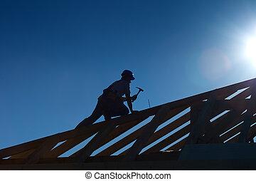 工作, 頂部, 木匠, 屋頂, 木匠, 或者