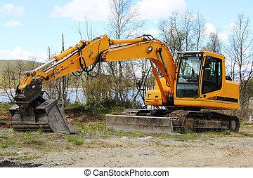 工作, earthmoving, 挖掘機
