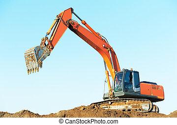 工作, earthmoving, 挖掘機, loader