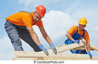工作, roofers, 屋頂, 木匠