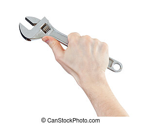 工具, 被隔离, 手, 猛扭, 扳手, 白色, 或者