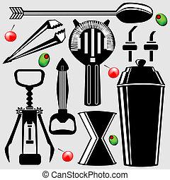 工具, bartending, 矢量, 黑色半面畫像