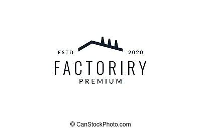 工廠, 圖象, 矢量, 簡單, 線, 插圖, outline, 標識語