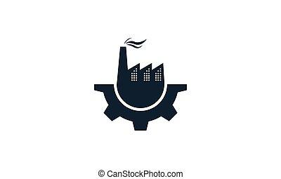 工廠, 服務, 黑色半面畫像, 工業, 齒輪, 圖象, 矢量, 設計, 標識語