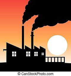 工廠, 污染, 黑色半面畫像, 空氣