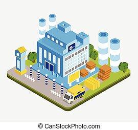 工廠, 矢量, 等量, 建築物