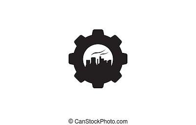 工廠, 符號, 標識語, 服務, 插圖, 齒輪, 黑色半面畫像, 矢量, 工業的設計, 圖象