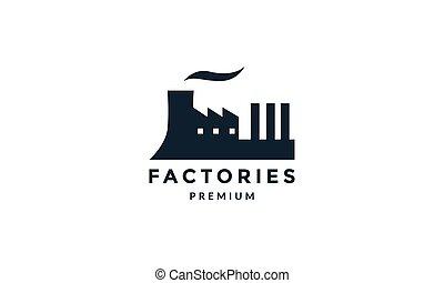 工廠, 黑色半面畫像, 圖象, 矢量, 簡單, 插圖, 標識語