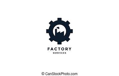 工廠, 黑色半面畫像, 現代, 齒輪, 圖象, 矢量, 插圖, 標識語