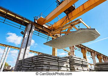 工業的過程, 工人, 升起, 混凝土, 建設, 操作, 平板