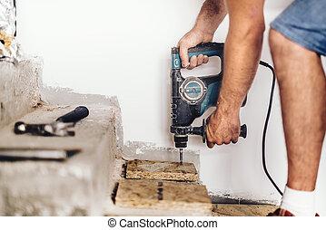 工業, 木制, 洞, 工人, 板, 混凝土, 建設機械, 使用, 專業人員, 操練