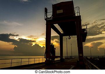 工業, 水壩, 頂部, 傍晚, coulee, 盛大, 起重機