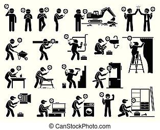 工業, 流動, app, 工人, 建設, 使用, smartphone.