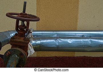 工業, 老, 金屬管子, 气体, corrosion-proof, 生鏽, 油, flanges, 鐵, 石油化學產品, 分支, 過渡, 工業, 閥門