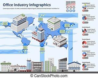 工業, 辦公室, infographics