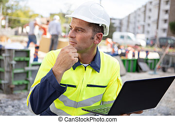 工程師, 便攜式電腦, 建設, 建造者, 站點