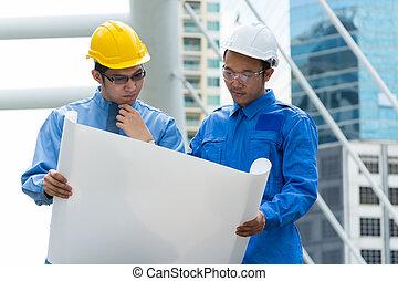 工程師, 建築師, 或者, 討論, 二