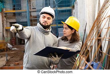 工程師, 藍圖, 建築工地, 討論