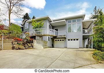 巨大, area., 房子, 現代, 灰色, 大, 外部, 停車處