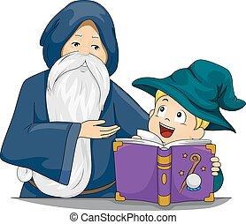 巫術師, 老師, 孩子, 男孩, 書