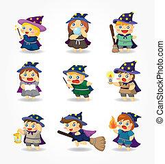 巫術師, 集合, 巫婆, 卡通, 圖象