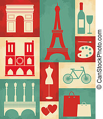 巴黎, 海報, retro