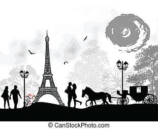 巴黎, 車, 情人