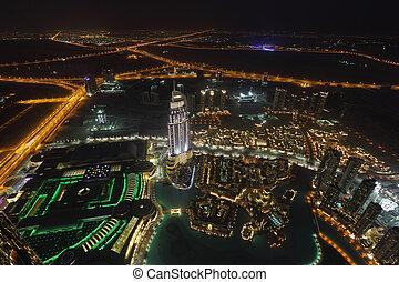 市區, 迪拜, 看法, 空中, 夜晚