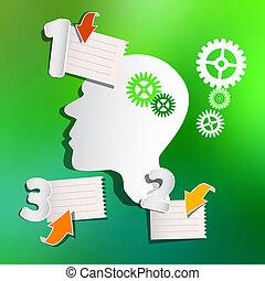 布局, 單子, 摘要, 箭, 嵌齒輪, 被模糊不清, 紙, infographic, 綠色的背景, 頭