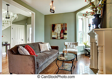 布朗, 房間, 生活, 沙發, floor., 雅致, 木頭, 綠色