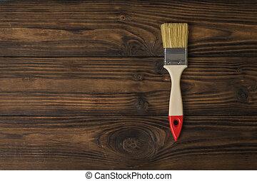 布朗, 畫, 黑暗, 刷子, 木制, 背景。