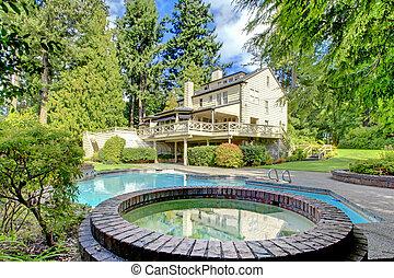 布朗, 花園, 夏天房子, 大, 外部, pool.