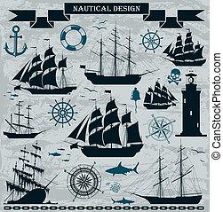 帆船, 集合, elements., 設計, 船舶
