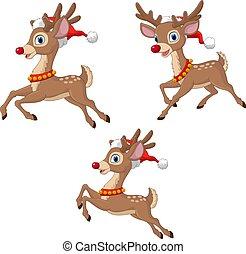 帽子, 克勞斯, 穿, 聖誕節, 聖誕老人, 馴鹿, 卡通