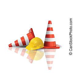 帽子, 努力, 交通圓錐, 被隔离