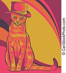 帽子, 貓, 插圖, 矢量
