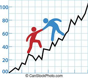 幫助, 事務, 盈利性, 圖表, 人, 墨水, 紅色