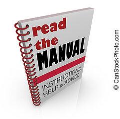 幫助, 閱讀, 建議, 手冊, 書, 指示