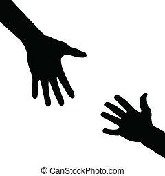 幫助, 黑色半面畫像, 手