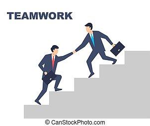 幫助, teamwork., 人, 衣服, 每一個, work., 矢量, 插圖, 其他