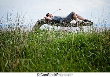 平安地, 成人, 年輕, 放松, 自然