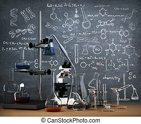 平局, whiteboard., concept., 化學制品, 對象, 實驗室試驗, 桌子, 化學, 管子