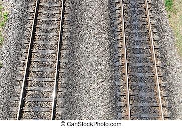 平行, railroads., 空中, 二, 看法