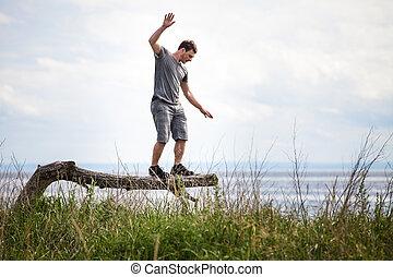 平衡, 樹, 年輕 成人, 假期