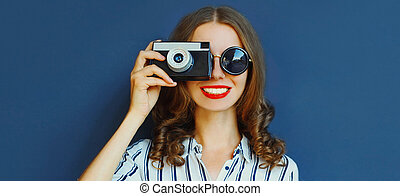 年輕, 背景, 婦女, 在上方, 電影, 照像機, 關閉, 藍色, 攝影師, 葡萄酒